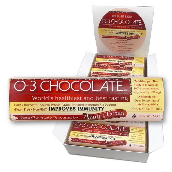 Anutra O3 Vegan Chocolate Bar with display