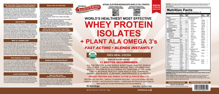 anutra whey protein isolates real cocoa product label